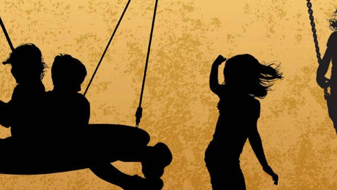 Silhouetted images of children playing.
