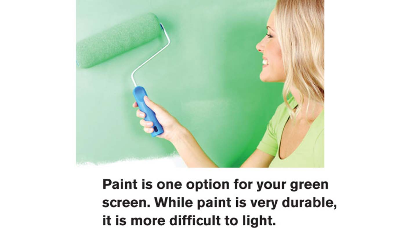 Woman painting a green screen