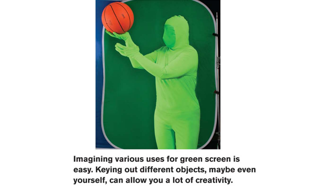 Person in green suit in front of green screen catching a basketball
