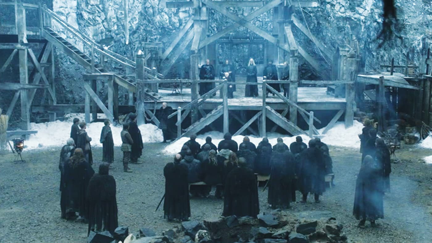 Scene from Game of Thrones at Castle Black with blu-ish color grade.