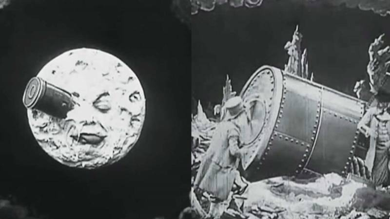 "Screen grabs from ""Trip to the Moon"" showing Moon with a face and a rocket ship in it's eye and men in top hats on the moon."