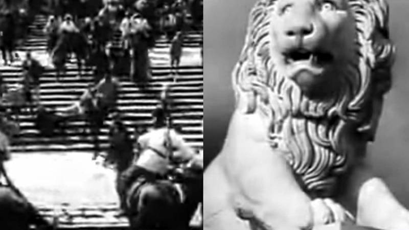 "Scenes from ""Battleship Potemkin"" showing soldiers marching down steps and a statue of a lion."