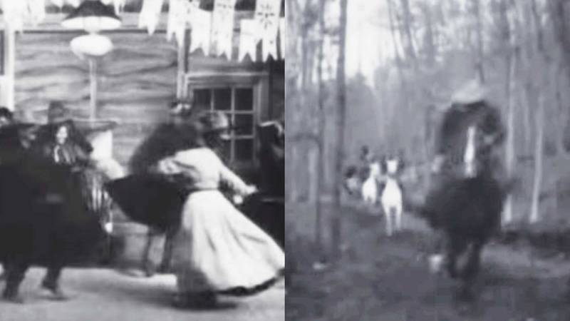 "Two Scenes from ""The Great Train Robbery"" showing a couple dancing and men riding on horses."