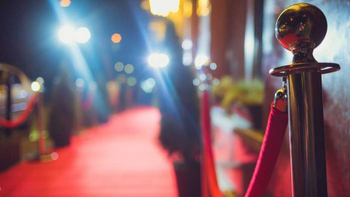 Roped off red carpet area of a film festival