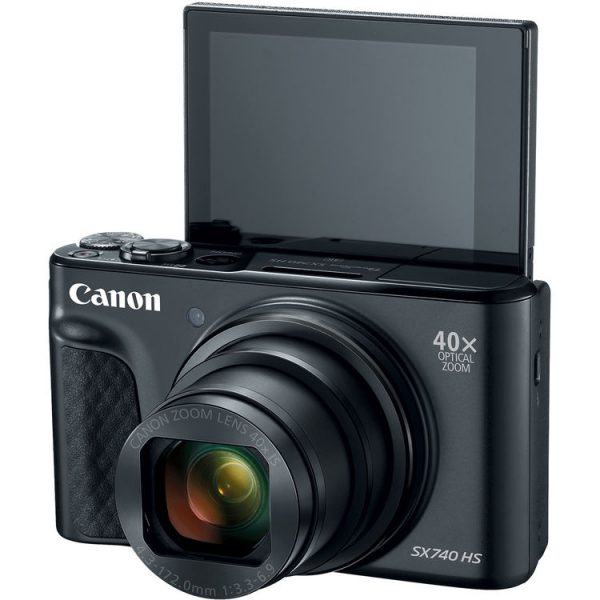 PowerShot SX740 HS with back LCD screen up
