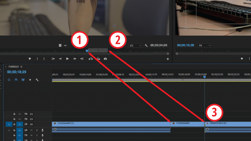 You can choose any three out of the four available edit points when placing a clip on the timeline. Here, two points are selected on the source clip and the third dictates where the clip will be placed in the edit.