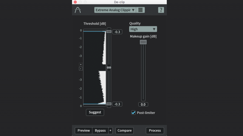 We now have tools like De-clip, part of the iZotope RX 6 repair suite, that can scan and redraw waveforms to remove and reduce the effects of clipping.