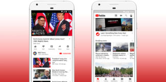 Two smartphones displaying news stories on YouTube