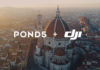 Image of Pond5 and DJI logo appearing over a cityscape.