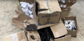 Smoke damaged boxes from SmallHD's warehouse