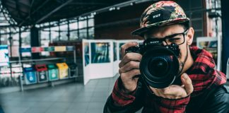 A man using a camera