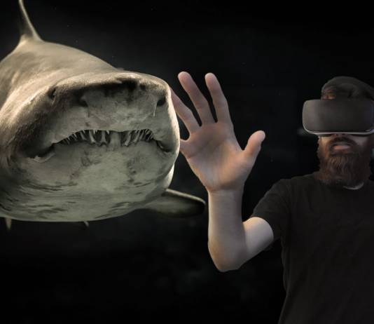 Man with VR set on holding hand up to shark.