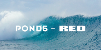 Image of Pond5 and RED logo over an ocean wave