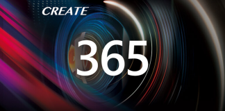 "An image of camera lens with the words ""Create 365"" over it"