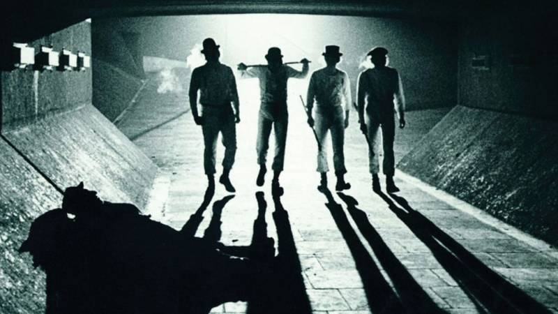 "Scene from ""Clockwork Orange"" (1971) showing a favorite lighting trick amongst noir directors, the silhouette."