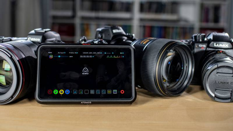 The Atomos Ninja V with a selection of cameras