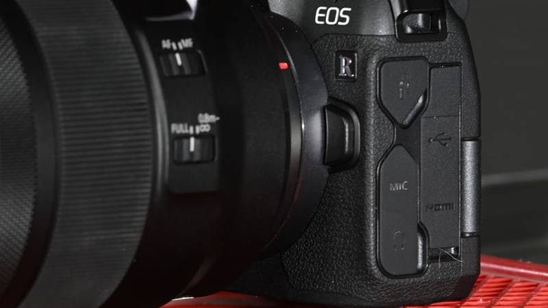 Close up showing inputs and lens mount on the EOS R