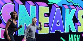 Paul Trani and Tiffany Haddish at Adobe MAX's Sneaks 2018