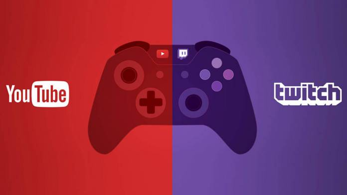 YouTube Twitch icons with game controller icon for live streaming
