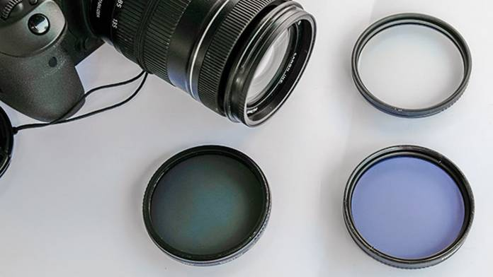 A camera next to filters