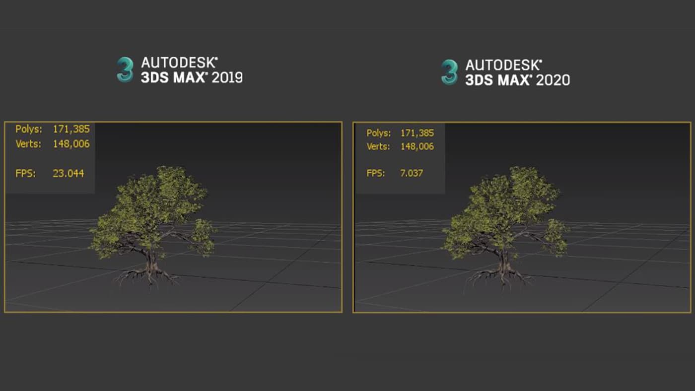 3ds Max 2020 with a more accurate framerate display