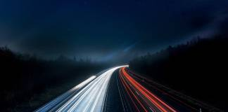 Timelapse of road at night