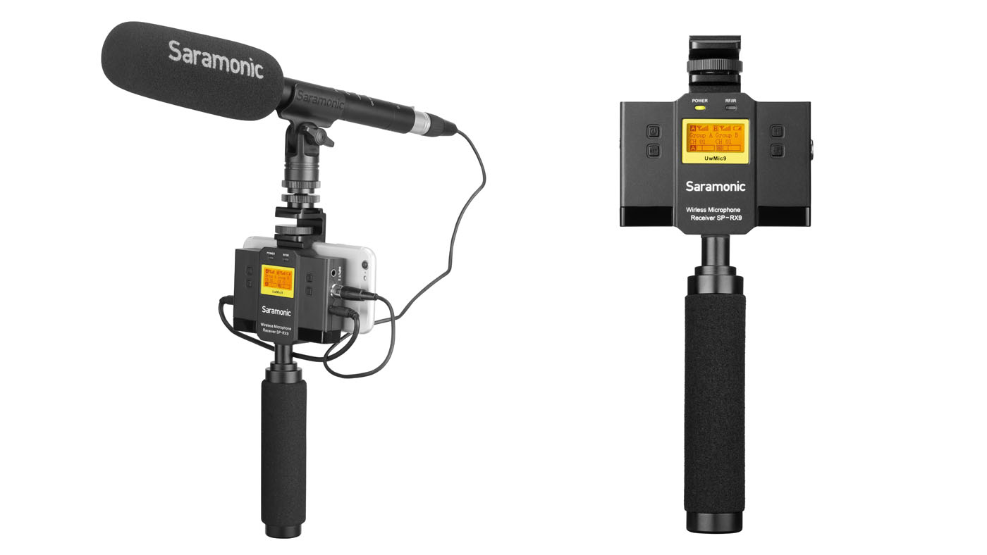 The UwMic9 SP-RX9+TX9+TX9 is a portable, dual-channel, UHF wireless microphone system
