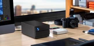 LaCie 2big RAID on a desk with other computer equipment