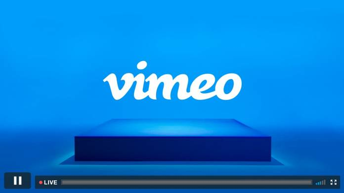 Vimeo logo over blue block