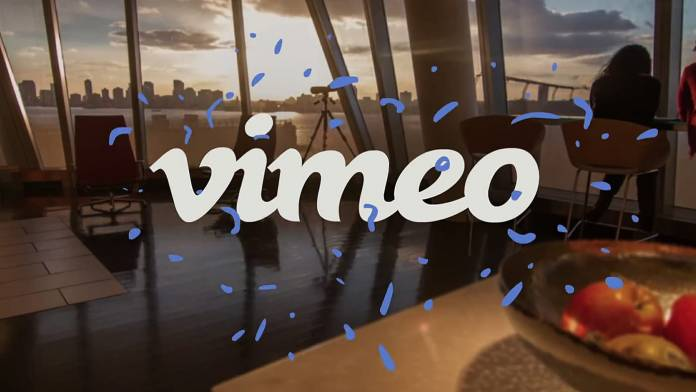 Vimeo logo over sunset
