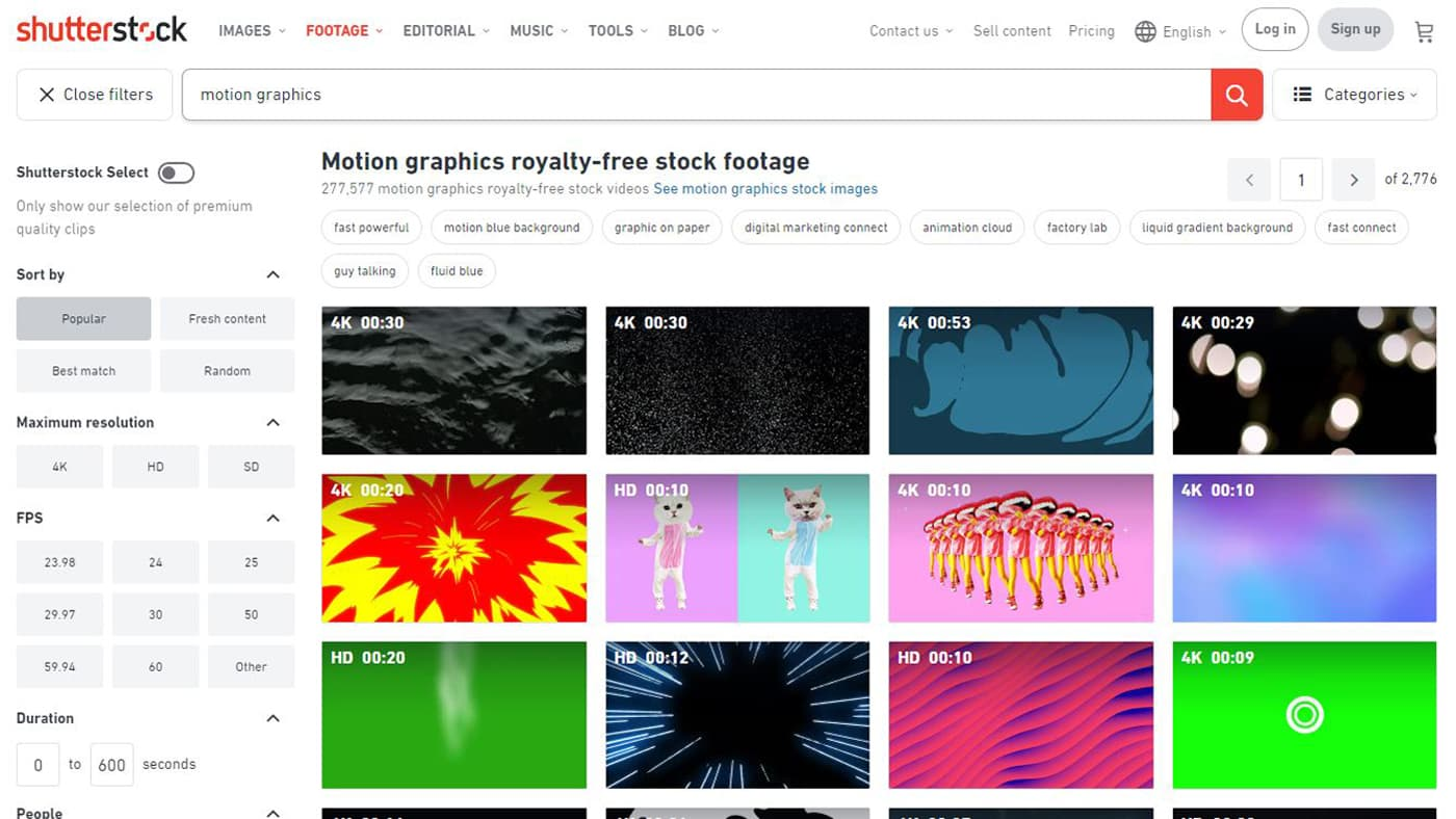 Shutterstock's motion graphic search page