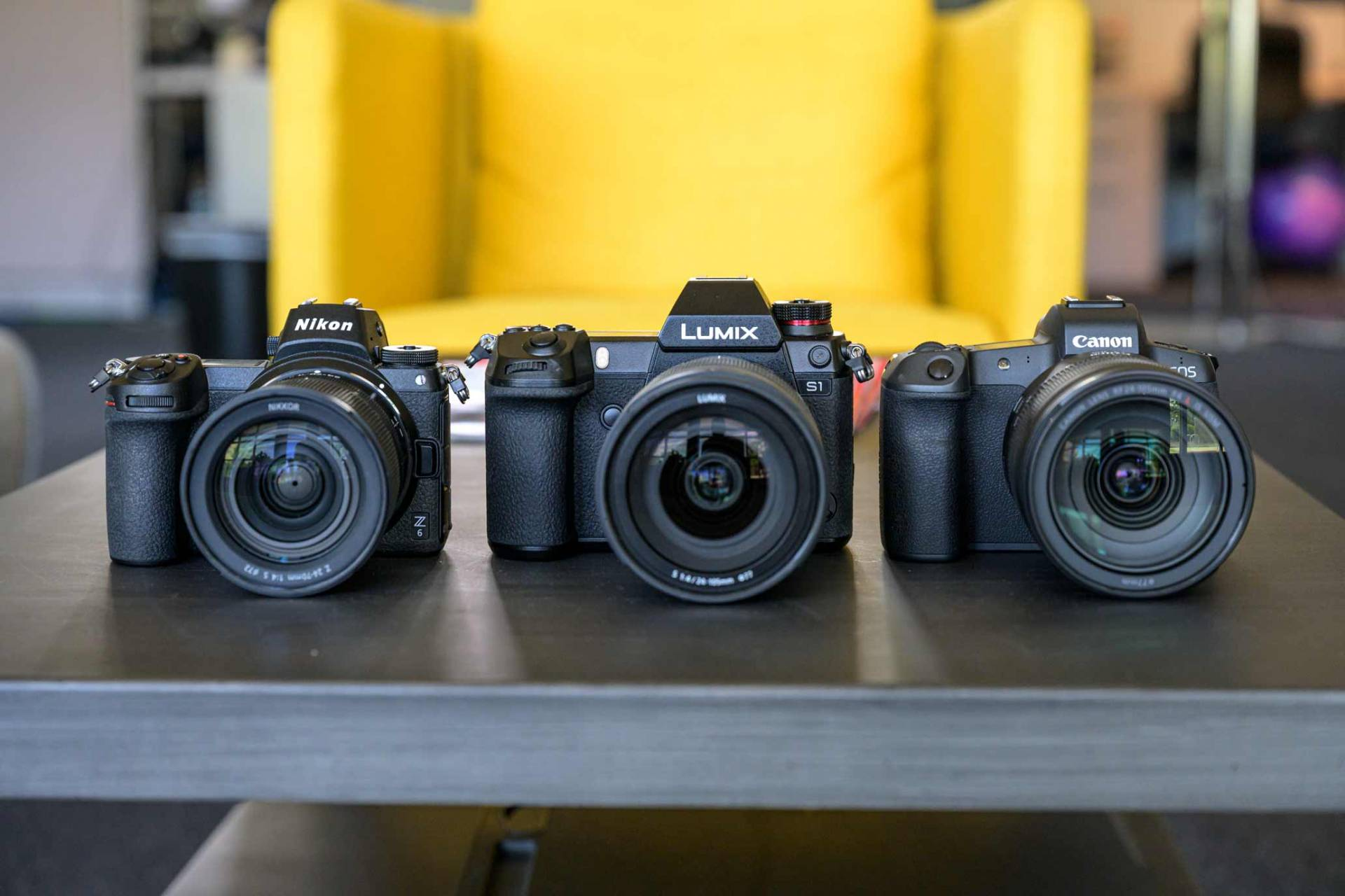 Nikon Z 6, Pansonic Lumix S1 and Canon EOS R in a row showing comparable sizes