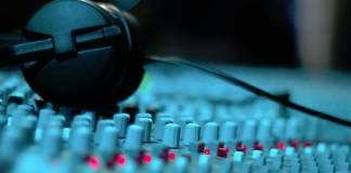 Headphones on an audio mixer
