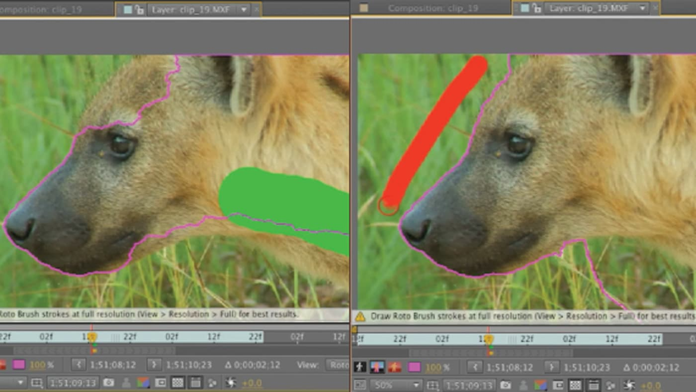 After Effects' Roto Brush can help fix backgrounds