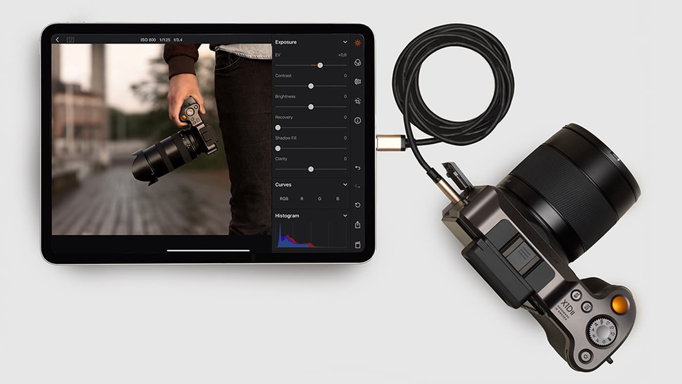 Hasselblad developed the ability to tether over a USB-C cable to an iPad