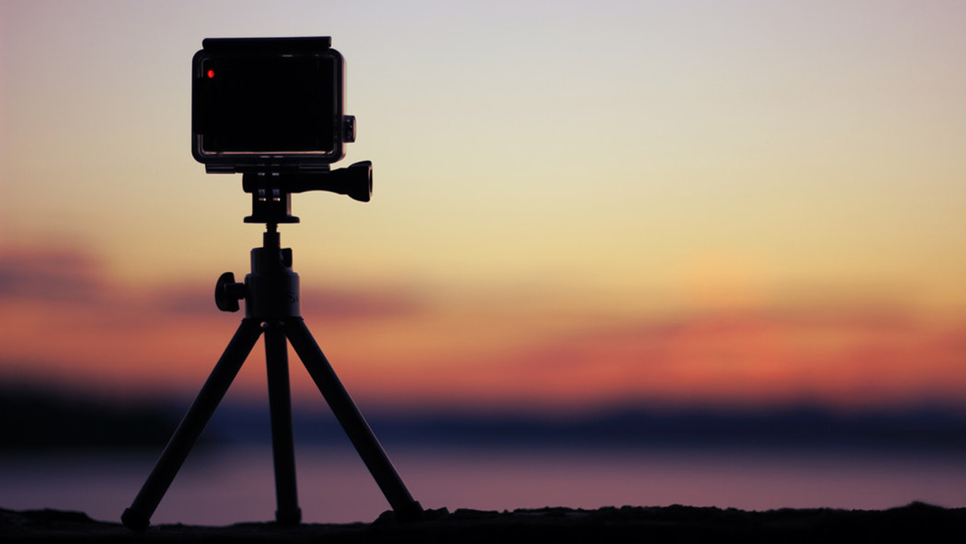 Set your action cam on a level spot on the ground, a log, a rock, or a tree to get the perspective you're looking for