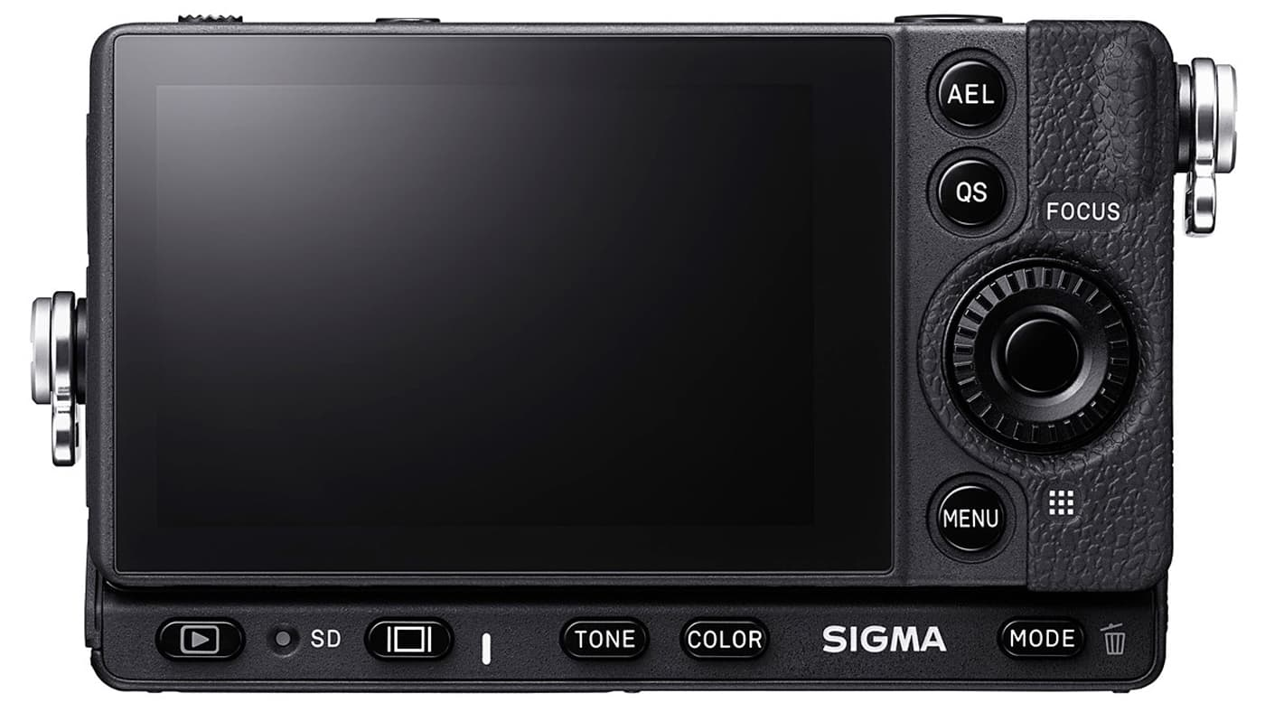 The Sigma fp has a .2-inch 2.1M-dot touchscreen on its back