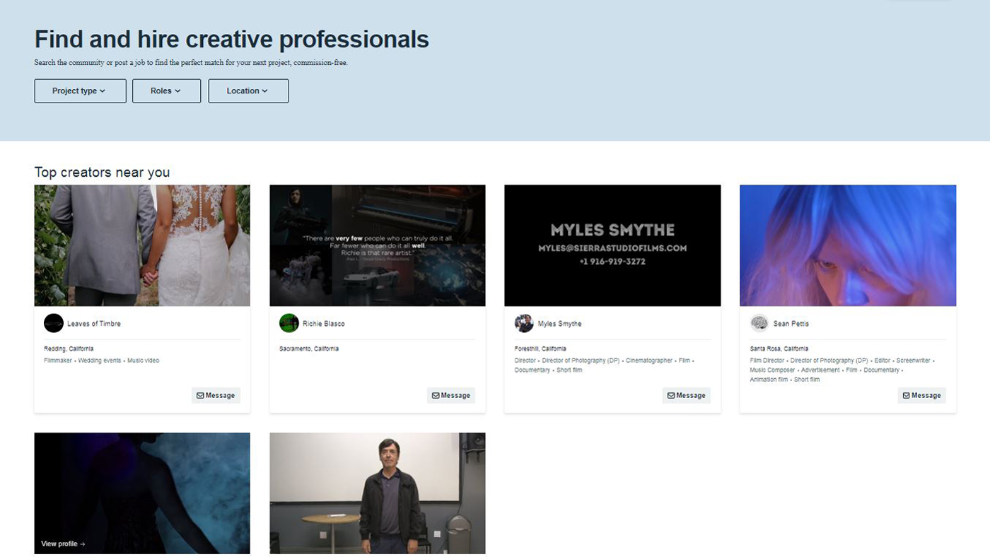 """Vimeo's """"For Hire"""" marketplace searching tool"""
