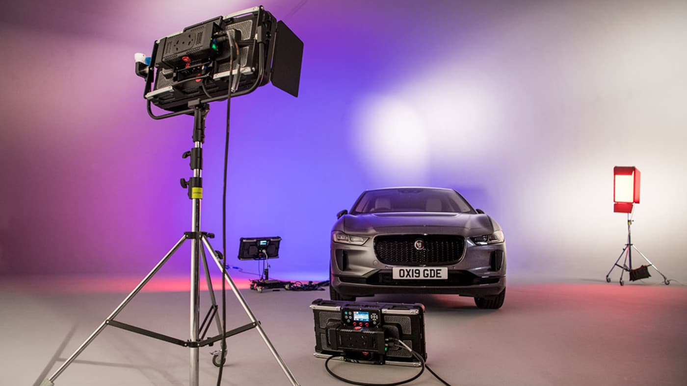 Rotolight Titan X2 lighting studio with a car in it