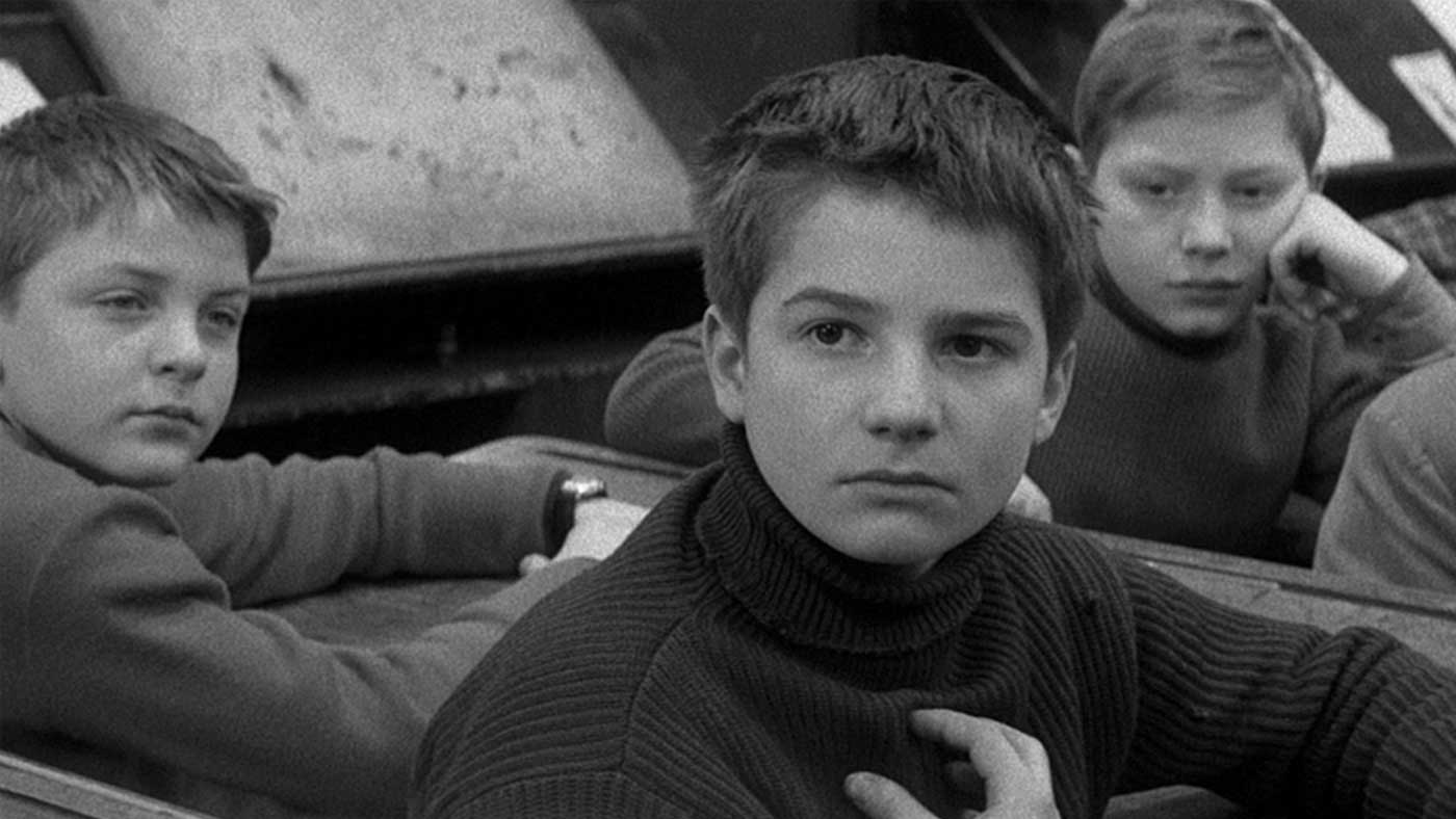 """Scene from """"The 400 Blows"""" (1959) Young man in a classroom."""