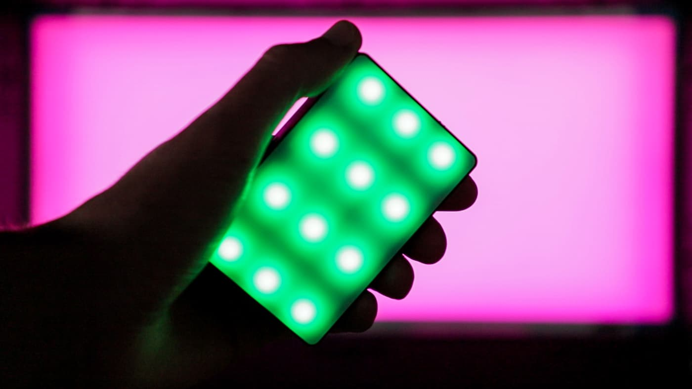 Aputure MC emitting green light
