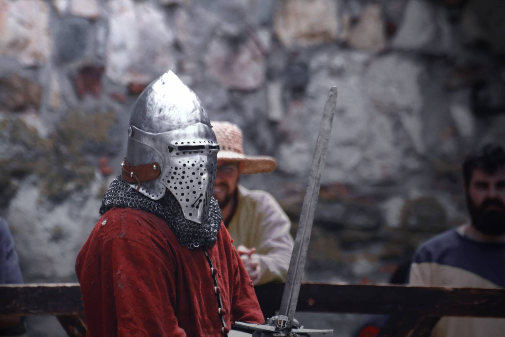 knight participating in a medieval sword fight