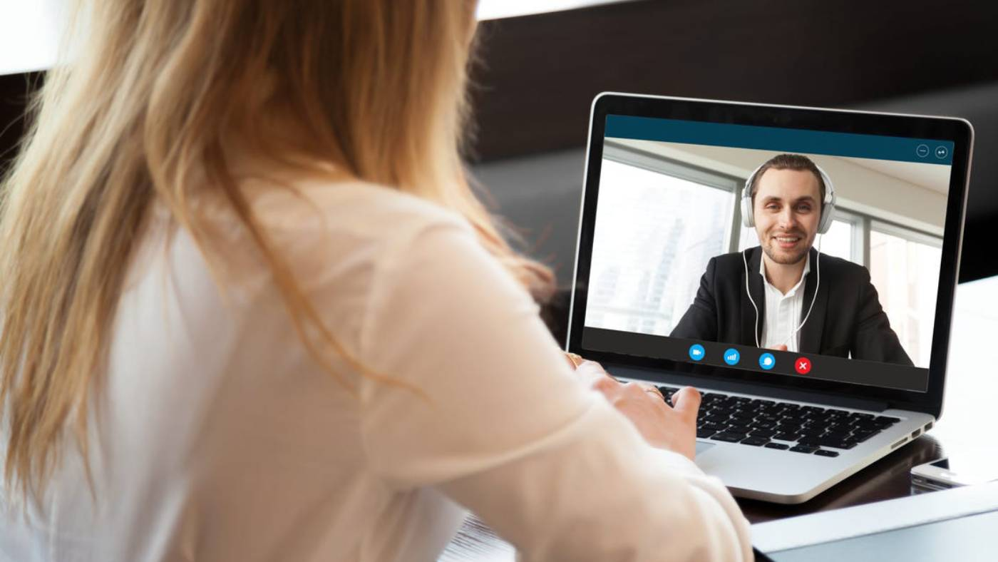 Woman on video conference call