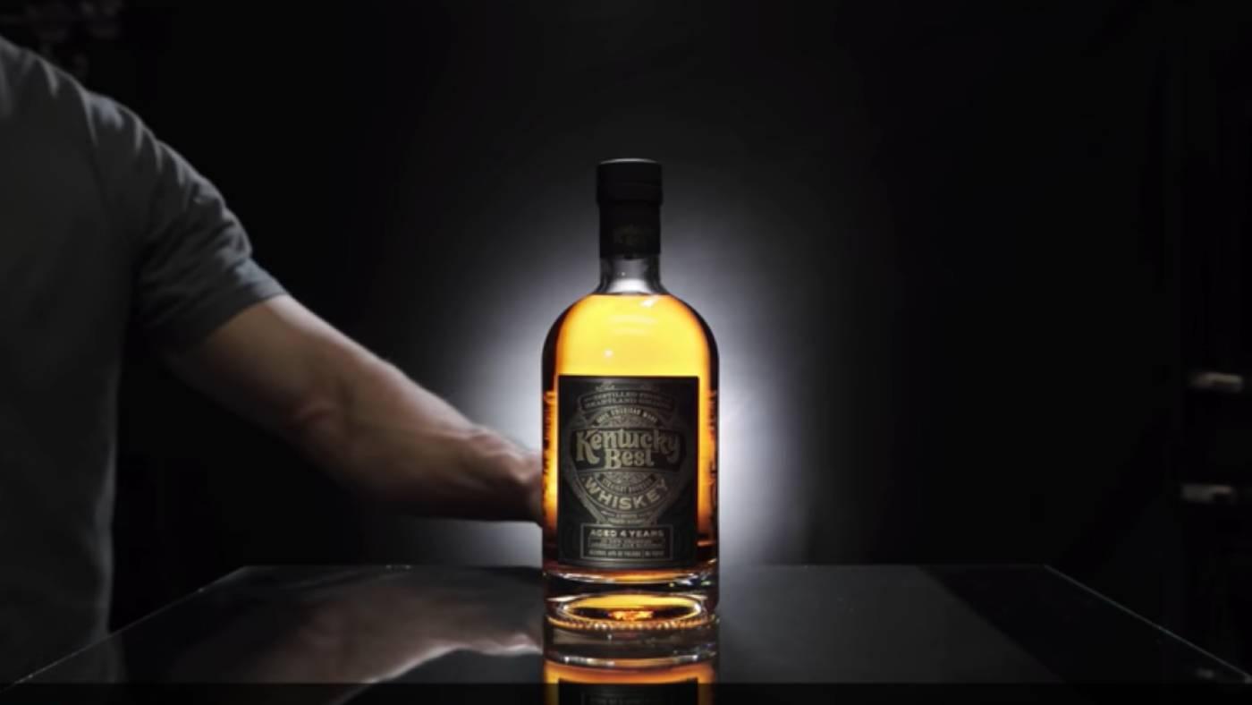 Whiskey bottle with back light