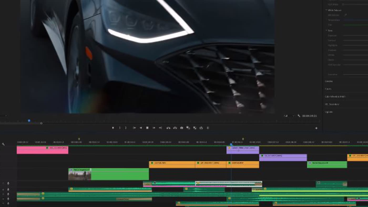 Premiere Pro timeline while film editing