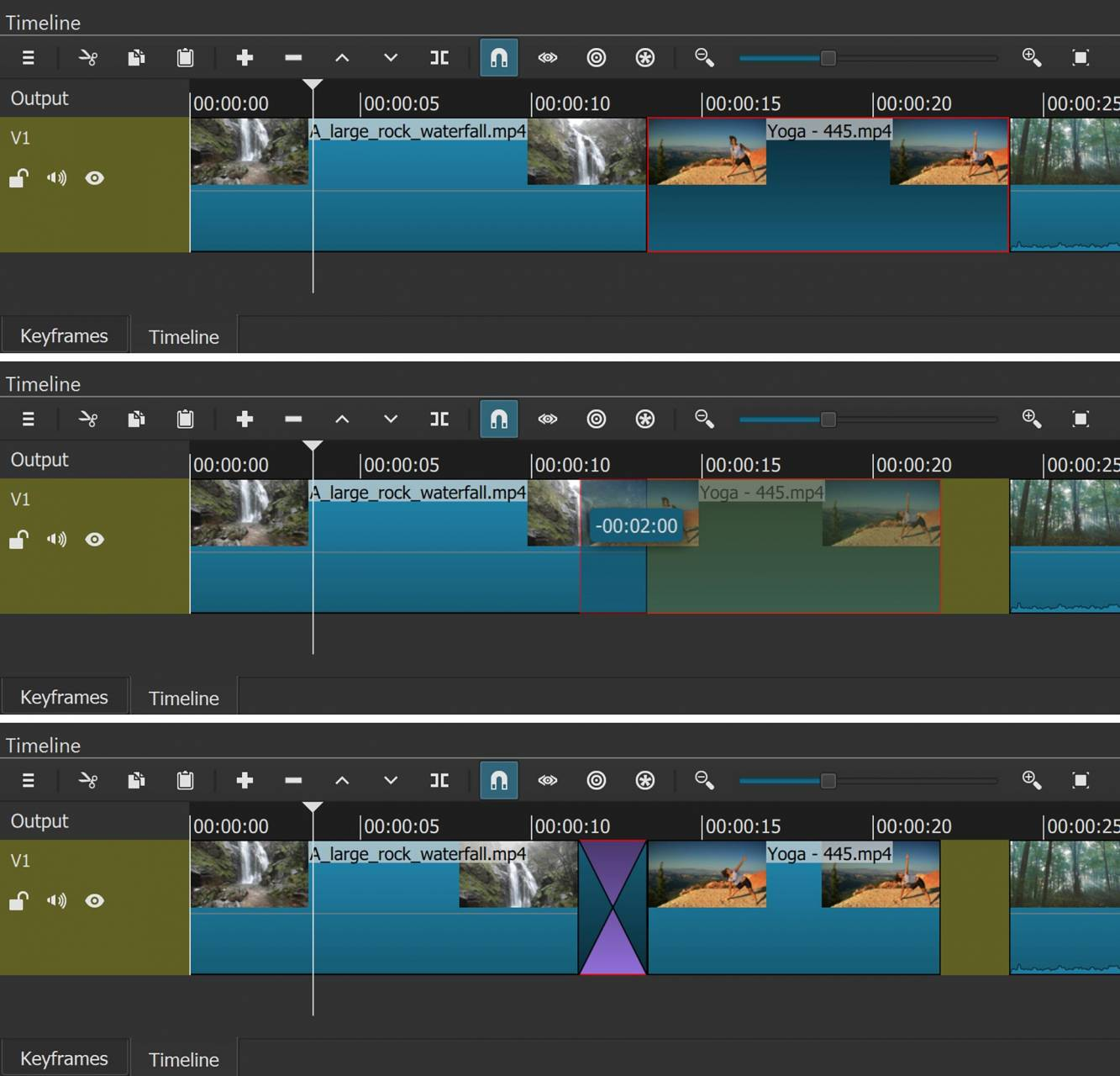 Three images of the Shotcut timeline showing a transition being created. Top: select a clip (outlined in red). Middle: slide the selected clip left on the timeline to overlap the previous clip. Bottom: Shotcut creates a transition automatically.