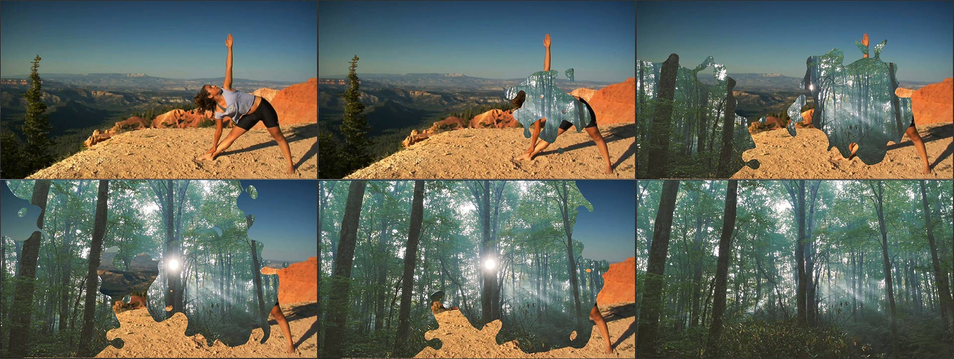 Six frames from a video showing an ink splat animated transition created with Shotcut's Mask: From File filter