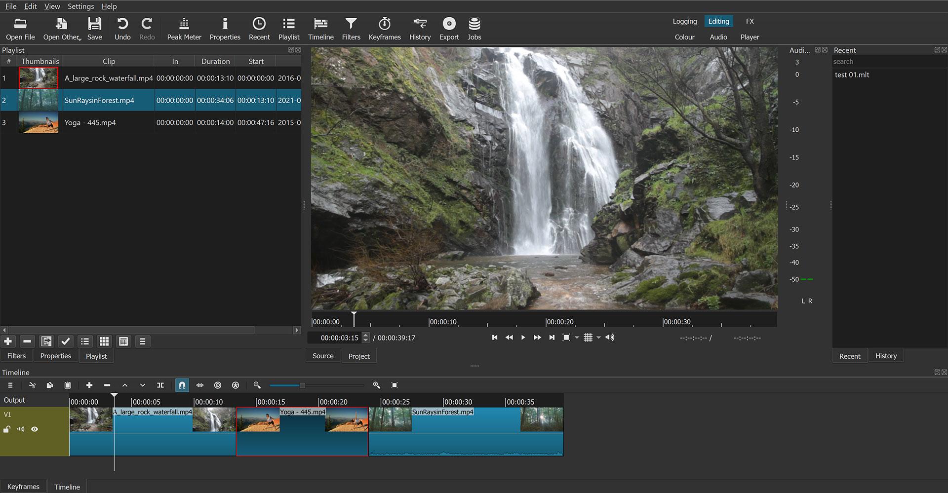 Shotcut program interface in the Editing mode layout
