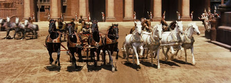 "Screen clip of chariot race from the movie ""Ben Hur"""