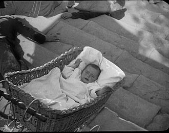 "Classic shot of crying baby in a runaway carriage from Russian filmmaker Sergei Eisenstein's  film ""Battleship Potemkin"""
